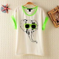 Elephant with Sunglasses T-shirt for Women
