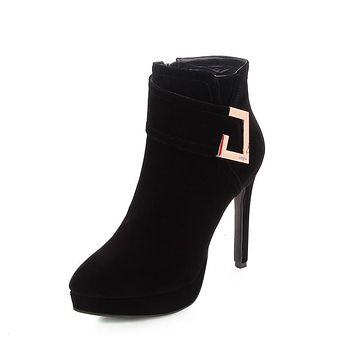 Ankle Boots for Women Platform High Heels Faux Suede Rhinestone Autumn Winter Shoes Woman 8665