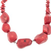 """Sterling Silver Simulated Coral Chip and Nugget Necklace, 16"""""""