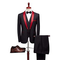 Black and Red Three Piece Tuxedo Suits