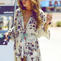 Summer 2016 ZANZEA Women Blouse Beach Boho Kimono Cardigan Floral Printed 3/4 Sleeve Casual Loose Long Beach Coat Tops Blusas