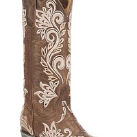 Cavender's by Old Gringo Women's Brown with White Embroidery Western Snip Toe Boots