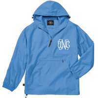 Columbia Blue Lightweight Pack-N-Go Rain Jacket Monogrammed Personalized Half Zip Pullover by Charles River Apparel