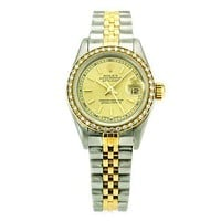 Rolex Lady DateJust Stainless Steel and 18k Gold Watch with Diamond Bezel 69173