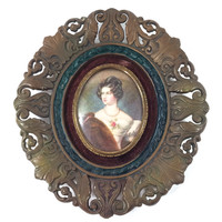 Miniature Portrait of Victorian Woman, Ornate Celluloid Oval Frame, Victorian Reproduction, Vintage Picture