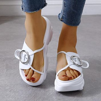 Shoes For Women Height Wedge Slippers Fashion Shoes Woman Flat Platform Thick Bottom