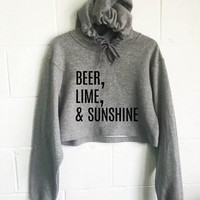 Beer Lime and Sunshine Cropped Hoodie