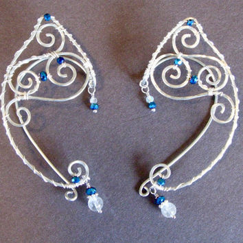 Elf Ear Cuffs Pair of Silver Wire with Sapphire Blue and Clear Quartz Crystal Accents Renaissance, Elven Ears, Costume Earrings Ear Wraps