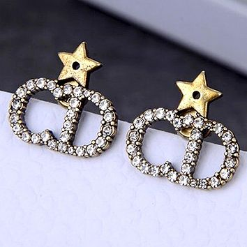 Dior new diamond earrings with CD letters