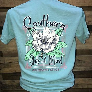 Southern Chics Southern State of Mind Flower Comfort Colors Girlie Bright T Shirt