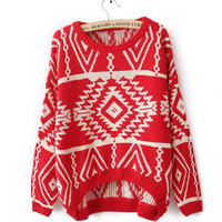 VINTAGE GEOMETRIC PATTERN KNITTED SWEATER -DS