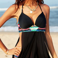 Black Halter Neck Dovetail Backless Swimsuit