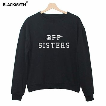 "Women Printed Sweatshirt ""BFF SISTERS"" Lettered Crewneck Black White Hedging Fashion Long-sleeve Loose Leisure"