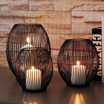 Morden Metal Hollow Out Candle Holder Articles Candlestick Hanging Lantern Home Decor Gifts TB Sale