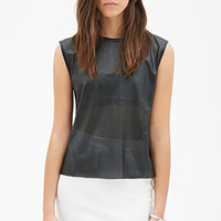 Perforated Faux Leather Tank