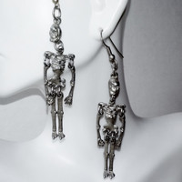Vintage Halloween Jointed Skeleton Long Dangle Silver Metal Earrings Spooky Goth Novelty Day of Dead Holiday Costume Fashion Pewter Jewelry