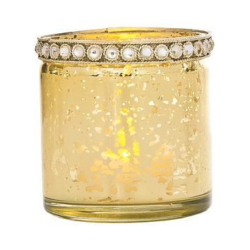 Vintage Mercury Glass Candle Holder with Rhinestones (2.5-Inch, Thea Design, Gold) - For Use with Tea Lights - For Home Decor, Parties, and Wedding Decorations