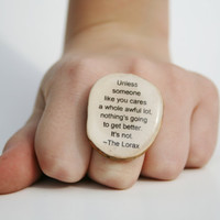 Cocktail Ring Lorax  wood jewelry Unique ring by starlightwoods