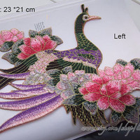 Vintage Style Peacock peony Flower Applique, Iron On Patch Floral Patch Sew On patch Various Colors