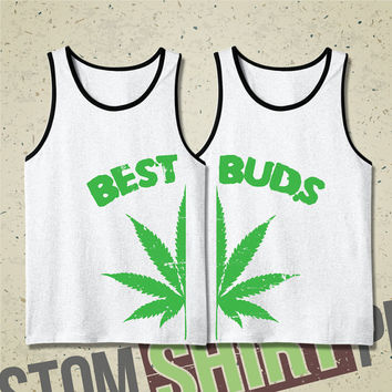 Best Buds Mens Tanks - Tshirt - Tee - Shirt - Funny - Pot Leaf - 4-20 - Gift for Friend - Marijuana - Mary Jane - Kush - Best Friends