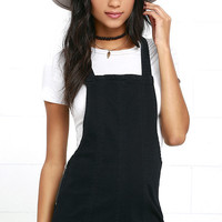 RVCA Hold It Washed Black Short Denim Overalls