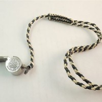 Vintage Metal Sports Referee Whistle Umpire MacGregor No 6 with Braided Strap