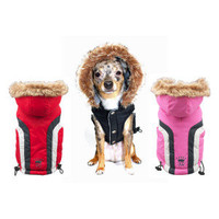 Hip Doggie Alpine Ski Vests for Dogs - Red/Pink/Black