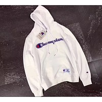 Champion Pure cotton hooded men and women with matching hoodies  White