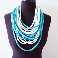SALE! White turquoise necklace neck ornament loop scarf infinity scarf round scarf aquamarine OOAK mint
