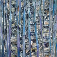 """View: OLena Art Palette Knife Oil Painting Enchanted Forest Abstract of Birch Trees Trunks Artwork Wall Art for Living Room 16"""" x 20""""x 0.5"""" Inches 