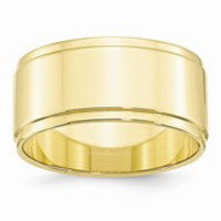 10k Yellow Gold 10mm Flat with Step Edge Wedding Band Ring