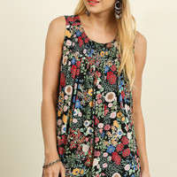 Pleated Floral Print Top - Black Mix