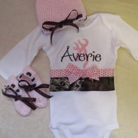 Custom Handmade browning inspired camo camouflage pink Onesuit you choose name with crocheted hat and matching booties