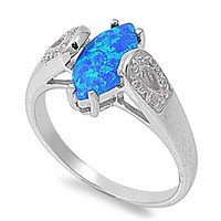 Blue Marquise Unique Lab Opal Sterling Silver Ring with Cubic Zirconia