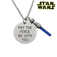 Star Wars7 May the force be with you Hand Stamped Necklace,the Force Awaken Sword of Light Lightsaber Pendant Movie Jewelry
