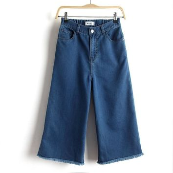 Summer Knit Denim High Waist Capri [8173464711]