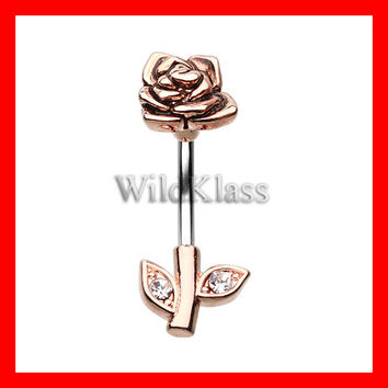 Belly Button Ring Full Blossom Rose 316L Rose Gold 14g Navel Ring Belly Piercing Navel Piercing Belly Jewelry Navel Jewelery