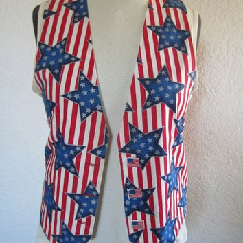 Ladies Handmade Patriotic Holiday Vest, Stars and Stripes American Flag, 4th of July USA American Cute Gift for Her