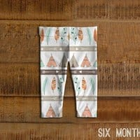 Tribal Teepee Baby Leggings, Toddler Leggings, Mint, Coral, Girl