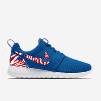 Custom Blue American Flags Nike Roshe Run Shoes Fabric Pattern Men's Birthday Present, Perfect Gift, Customized Nike Shoes