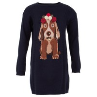 Navy Knitted Sweater Dress with Dog