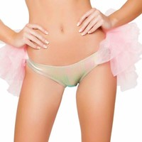 Pink Holographic Booty Shorts with Attached Half Tutu