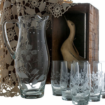Etched Glass Pitcher and  Glasses Set of 8 Replacement Glassware
