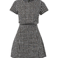 Fashion Union Black Grid Check Layered Dress