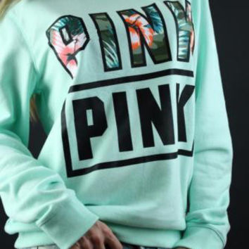 """""""PINK"""" Victoria's Secret Letter Print Long Sleeve Pullover Top Sweater"""