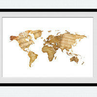 Watercolor world map poster World map colorful print Notes world map illustration Home decoration Office wall art World map wall decor W434