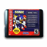 Sonic 7 in 1 Hedgehog/Knuckles Save Function 16 bit  Game Cartridge for Sega for MegaDrive Genesis PAL and NTSC Video Console