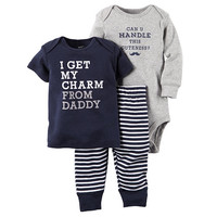 """Carter's Boys 3 Piece Navy """"I Get My Charm From Daddy"""" Top, Striped Pant and """"Can U Handle This Cuteness"""" Bodysuit Set"""