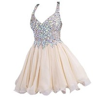 Mic Dresses Women's Floor-Length A-Line Two Pieces Beaded Prom Dress