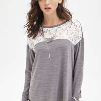 FOREVER 21 Rose Patterned Lace Sweater